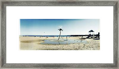 Palm Tree Sprinkler On The Beach, Coney Framed Print by Panoramic Images