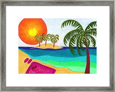 Palm Trees Across The Water Framed Print by Geree McDermott