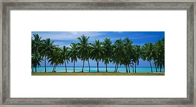 Palms & Lagoon Aitutaki Cook Islands Framed Print by Panoramic Images