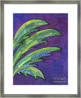 Palms Against The Night Sky Framed Print by Diane Thornton