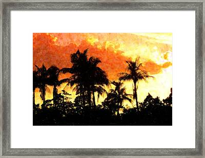 Palms See Red Framed Print by Florene Welebny