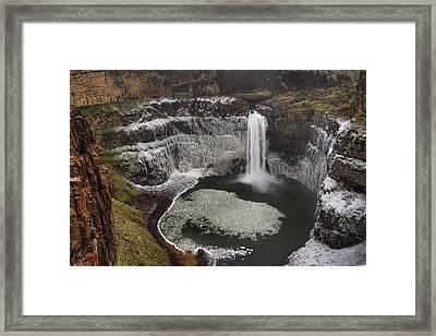 Palouse Falls In Winter Framed Print by Mark Kiver
