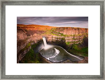 Palouse Falls Sunset Blush Framed Print by Dan Mihai