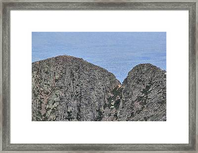 Pamola And Chimney Peaks Framed Print by Lori Deiter