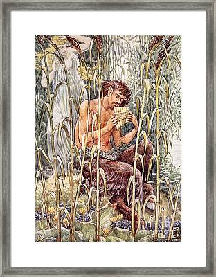 Pan Playing His Pipes Framed Print by Walter Crane