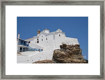 Panagia Tou Pyrgou Skopelos Framed Print by David Fowler