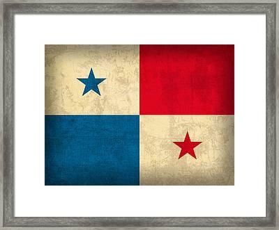 Panama Flag Vintage Distressed Finish Framed Print by Design Turnpike