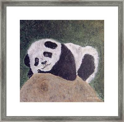 Panda Bear Sleepy Baby Cub Framed Print by Ella Kaye Dickey