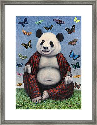 Panda Buddha Framed Print by James W Johnson