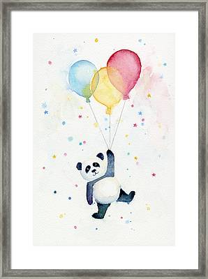 Panda Floating With Balloons Framed Print by Olga Shvartsur