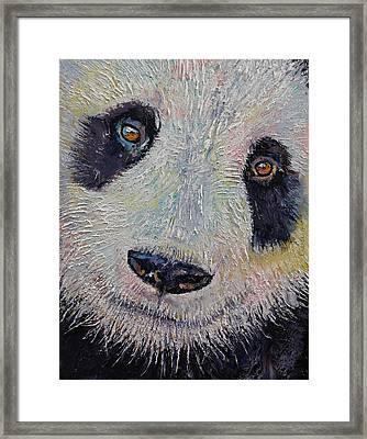 Panda Portrait Framed Print by Michael Creese