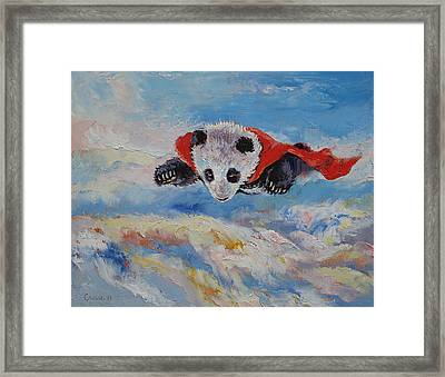 Panda Superhero Framed Print by Michael Creese