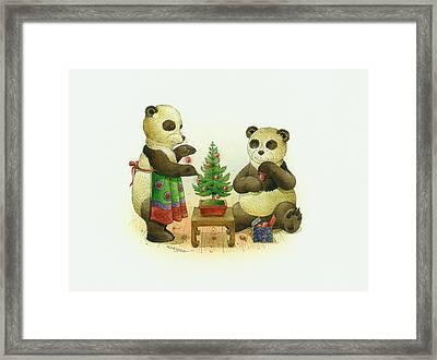 Pandabears Cristmas 02 Framed Print by Kestutis Kasparavicius