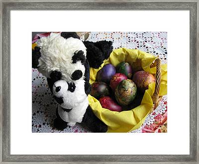 Pandas Celebrating Easter Framed Print by Ausra Huntington nee Paulauskaite
