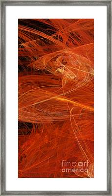 Panel 1 Of 5 Dancing Flames 2 H Pentaptych - Abstract - Fractal Art Framed Print by Andee Design