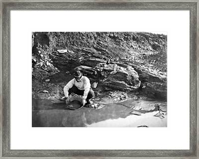 Panning For Gold In Alaska Framed Print by Underwood Archives