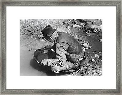 Panning For Gold Framed Print by Russell Lee