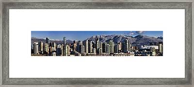 Pano Vancouver Snowy Skyline Framed Print by David Smith