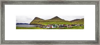 Panorama Of Gjogv Village Faroe Islands Framed Print by David Smith