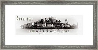Panorama Alcatraz Infamous Inmates Black And White Framed Print by Scott Campbell
