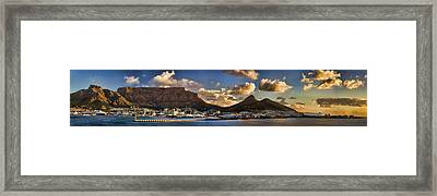 Panorama Cape Town Harbour At Sunset Framed Print by David Smith