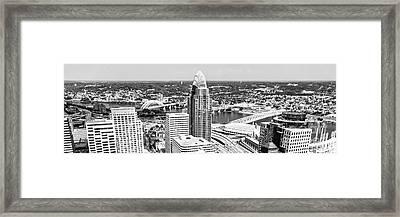 Panorama Cincinnati Skyline Aerial Picture  Framed Print by Paul Velgos