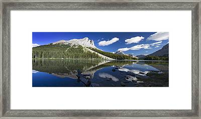 Panorama Of A Mountains Reflecting On A Framed Print by Michael Interisano