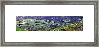 Panorama Of A Tuscan Hillside Town Framed Print by Susan Schmitz