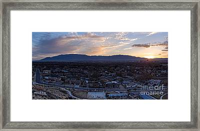 Panorama Of Albuquerque And Sandia Mountain At Sunrise From Pat Hurley Park - Albuquerque New Mexico Framed Print by Silvio Ligutti