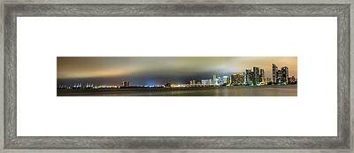 Panorama Of Biscayne Bay In Miami Florida Framed Print by Andres Leon