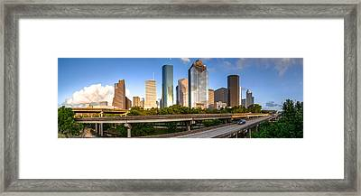 Panorama Of Downtown Houston From A Secret Location - Houston Texas Framed Print by Silvio Ligutti