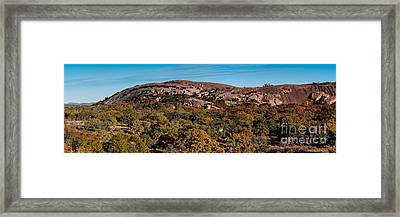 Panorama Of Enchanted Rock And Little Rock In The Fall Season - Fredericksburg Texas Hill Country Framed Print by Silvio Ligutti