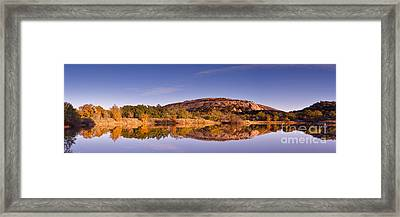 Panorama Of Enchanted Rock In The Fall From Moss Lake - Fredericksburg Texas Hill Country  Framed Print by Silvio Ligutti