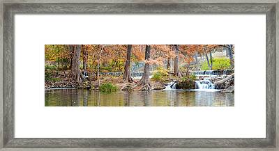 Panorama Of Guadalupe River In Hunt Texas Hill Country Framed Print by Silvio Ligutti