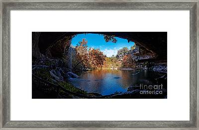 Panorama Of Hamilton Pool In The Fall - Austin Texas Hill Country Framed Print by Silvio Ligutti