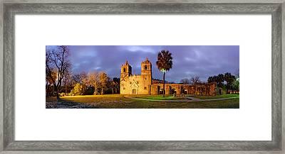 Panorama Of Mission Concepcion At Dusk - San Antonio Texas Framed Print by Silvio Ligutti