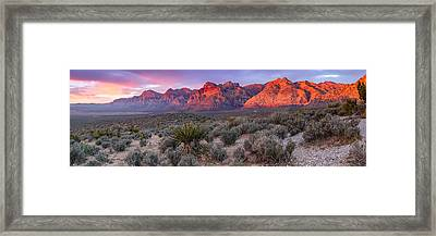 Panorama Of Rainbow Wilderness Red Rock Canyon - Las Vegas Nevada Framed Print by Silvio Ligutti