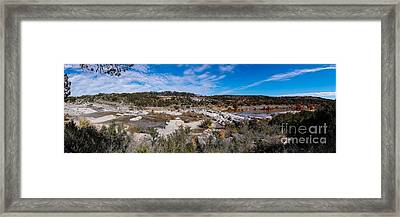 Panorama Of The Mighty Pedernales River In The Fall Season - Johnson City Texas Hill Country Framed Print by Silvio Ligutti