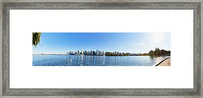Panorama Of Vancouver Harbor Framed Print by Jodi Jacobson