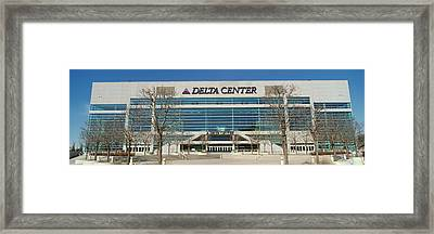 Panoramic Of Delta Center Building Framed Print by Panoramic Images