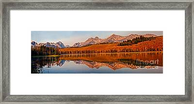 Panoramic Of Little Redfish Lake Framed Print by Robert Bales