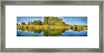 Panoramic Painting Of Ducks Lake Framed Print by George Atsametakis