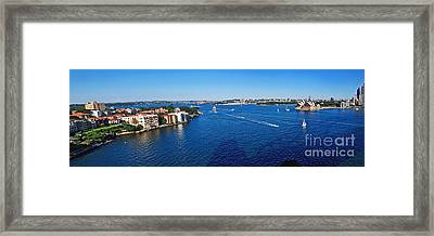 Panoramic Sydney Harbour Framed Print by Kaye Menner