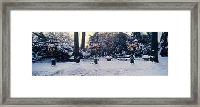 Panoramic View Of Christmas Wreath Framed Print by Panoramic Images