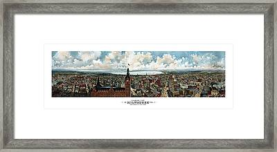 Panoramic View Of Milwaukee Wisconsin Framed Print by War Is Hell Store