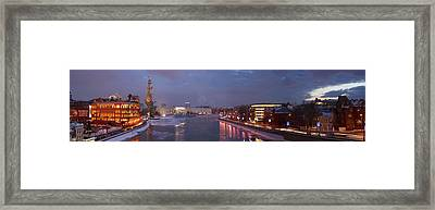 Panoramic View Of Moscow River Red October Confectionary Plant And The Monument To Peter The Great Framed Print by Alexander Senin