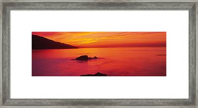 Panoramic View Of The Sea At Dusk, Leo Framed Print by Panoramic Images