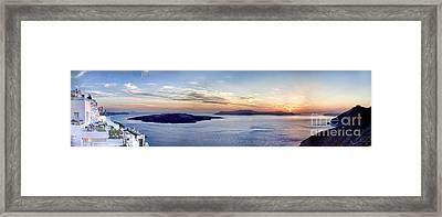 Panorama Santorini Caldera At Sunset Framed Print by David Smith