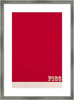 Pantone 186 Fire Engine Red Color On Worn Canvas Framed Print by Design Turnpike