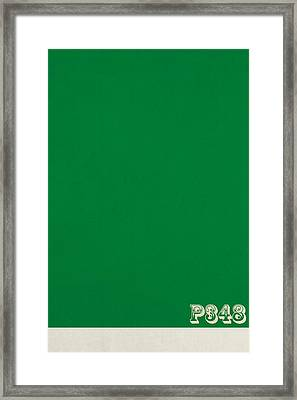 Pantone 348 Forest Green Color On Worn Canvas Framed Print by Design Turnpike